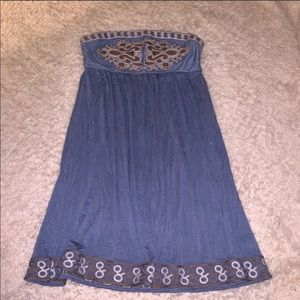 Theme Blue Embroidered Strapless Dress